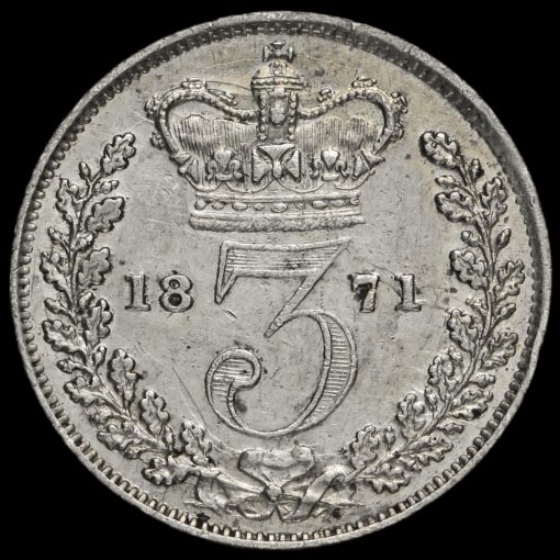 1871 Queen Victoria Young Head Silver Threepence Reverse