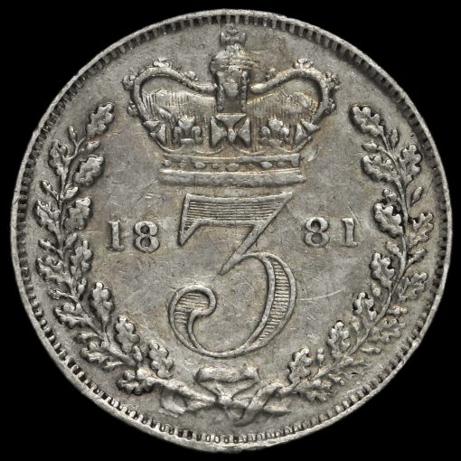 1881 Queen Victoria Young Head Silver Threepence Reverse