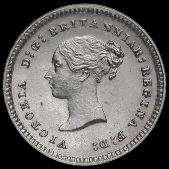 1882 Queen Victoria Young Head Silver Maundy Twopence Obverse