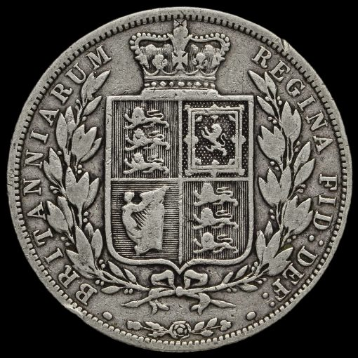 1883 Queen Victoria Young Head Silver Half Crown Reverse