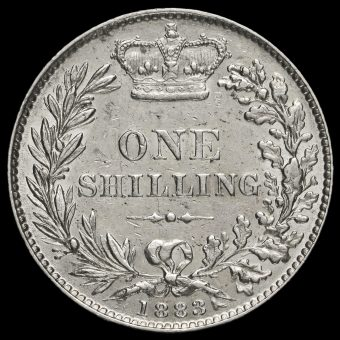 1883 Queen Victoria Young Head Silver Shilling Reverse