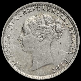 1885 Queen Victoria Young Head Silver Threepence Obverse