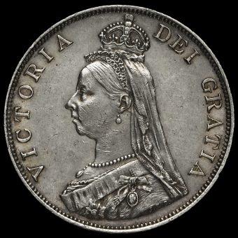 1889 Queen Victoria Jubilee Head Silver Double Florin Obverse