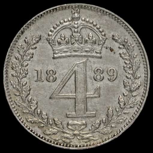 1889 Queen Victoria Jubilee Head Silver Maundy Fourpence Reverse