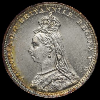 1890 Queen Victoria Jubilee Head Silver Maundy Twopence Obverse