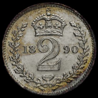 1890 Queen Victoria Jubilee Head Silver Maundy Twopence Reverse