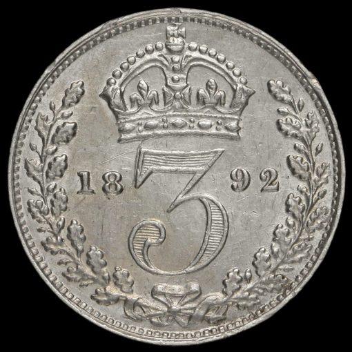 1892 Queen Victoria Jubilee Head Silver Threepence Reverse