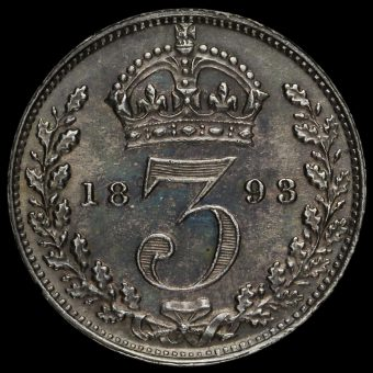 1893 Queen Victoria Veiled Head Silver Threepence Reverse