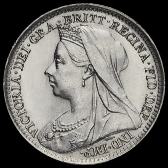 1893 Queen Victoria Veiled Head Silver Threepence Obverse
