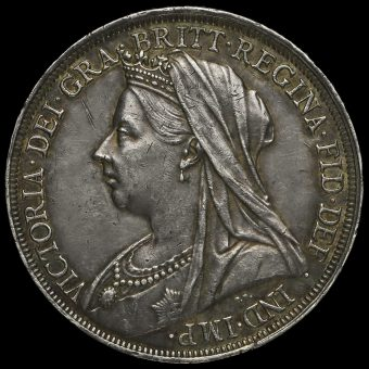 1896 Queen Victoria Veiled Head Silver LX Crown Obverse