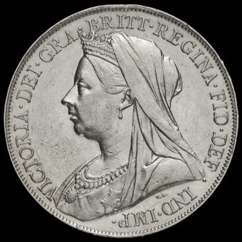 1898 Queen Victoria Veiled Head Silver LXII Crown Obverse
