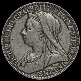 1900 Queen Victoria Veiled Head Silver Florin Obverse