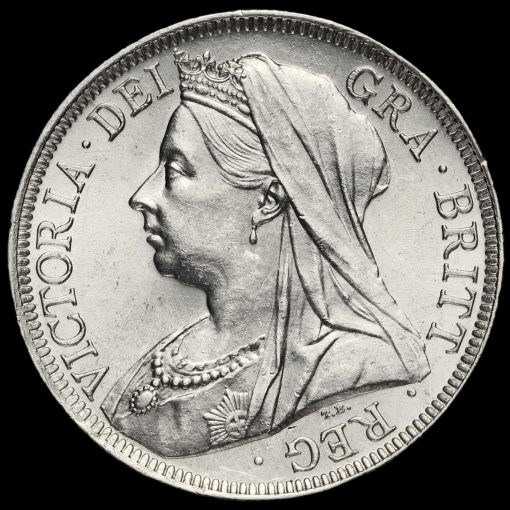 1900 Queen Victoria Veiled Head Silver Half Crown Obverse
