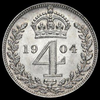 1904 Edward VII Silver Maundy Fourpence Reverse