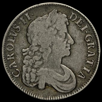 1677 Charles II Early Milled Silver Vicesimo Nono Crown Obverse