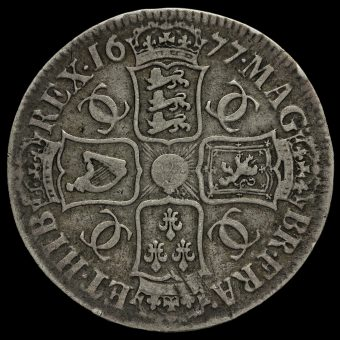 1677 Charles II Early Milled Silver Vicesimo Nono Crown Reverse