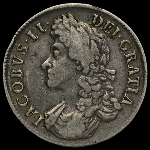 1687 James II Early Milled Silver Crown Obverse