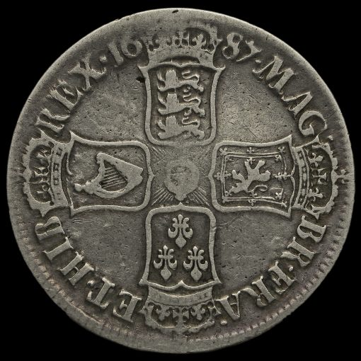 1687 James II Early Milled Silver Crown Reverse