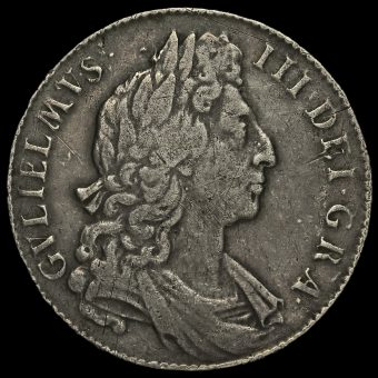 1696 William III Early Milled Silver Half Crown Obverse