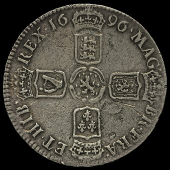1696 William III Early Milled Silver Half Crown Reverse