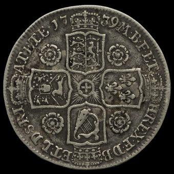 1739 George II Early Milled Silver Half Crown Reverse