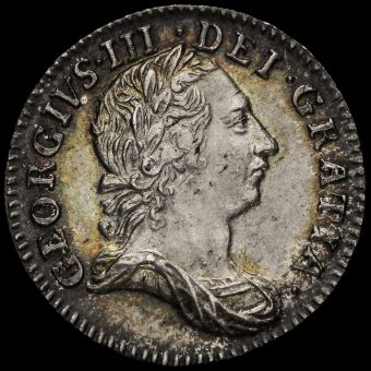 1762 George III Early Milled Silver Threepence Obverse