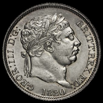 1820 George III Milled Silver Shilling Obverse