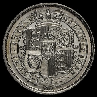 1820 George III Milled Silver Shilling Reverse