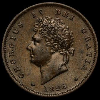1826 George IV Milled Copper Penny Obverse
