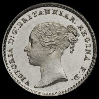 1851 Queen Victoria Young Head Silver Maundy Penny Obverse