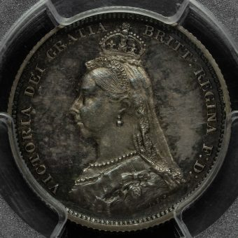 1887 Queen Victoria Jubilee Head Silver Proof Shilling Obverse
