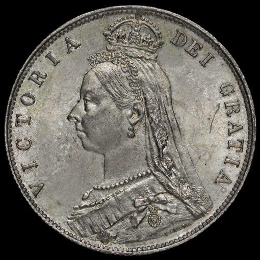1889 Queen Victoria Jubilee Head Silver Half Crown Obverse