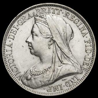1895 Queen Victoria Veiled Head Silver Florin Obverse