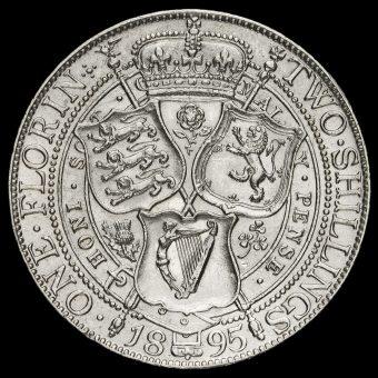 1895 Queen Victoria Veiled Head Silver Florin Reverse