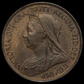 1896 Queen Victoria Veiled Head Halfpenny Obverse