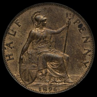 1896 Queen Victoria Veiled Head Halfpenny Reverse