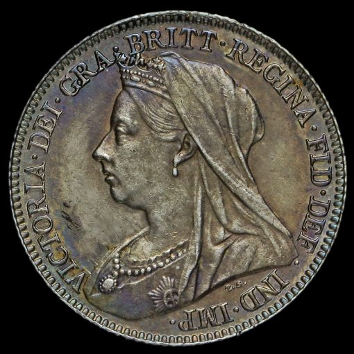 1897 Queen Victoria Veiled Head Silver Sixpence Obverse