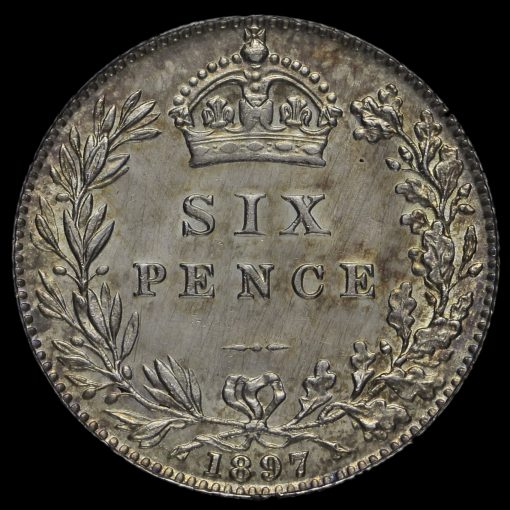 1897 Queen Victoria Veiled Head Silver Sixpence Reverse
