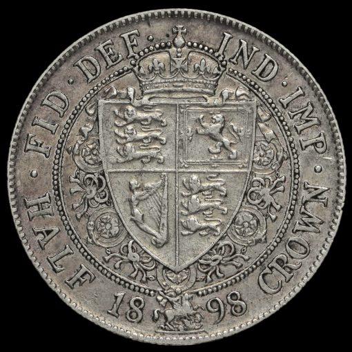 1898 Queen Victoria Veiled Head Silver Half Crown