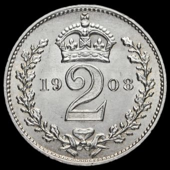 1908 Edward VII Silver Maundy Twopence Reverse
