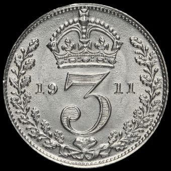 1911 George V Silver Threepence Reverse