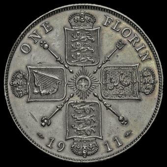1911 George V Silver Proof Florin Reverse