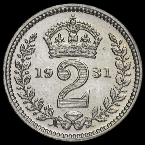 1931 George V Silver Maundy Twopence Reverse