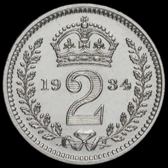 1934 George V Silver Maundy Twopence Reverse