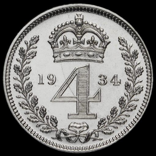 1934 George V Silver Maundy Fourpence Reverse