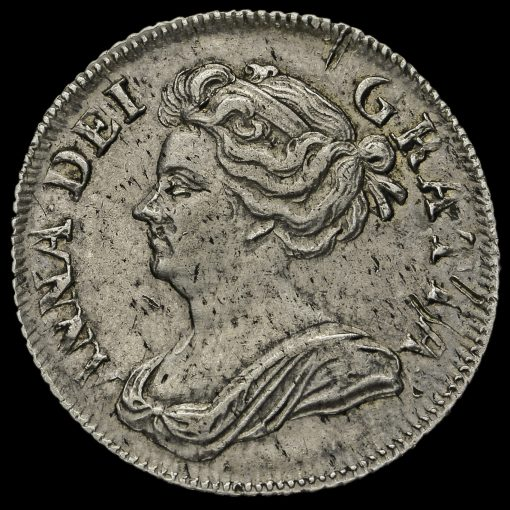 1707 Queen Anne Early Milled Silver Shilling Obverse