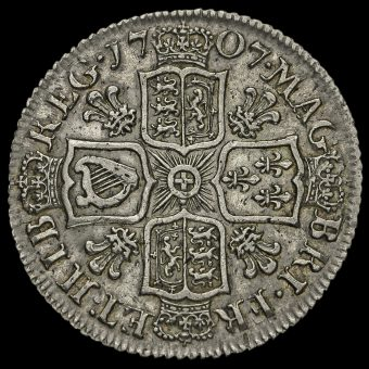 1707 Queen Anne Early Milled Silver Shilling Reverse