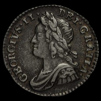 1743 George II Early Milled Silver Maundy Penny Obverse