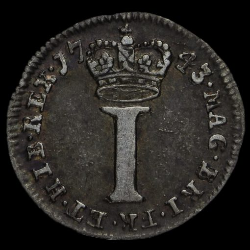 1743 George II Early Milled Silver Maundy Penny Reverse