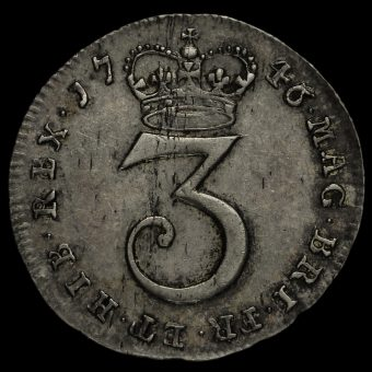 1746 George II Early Milled Silver Maundy Threepence Reverse